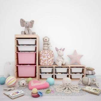 Sala de juegos para niños con cajones de almacenamiento y muchos juguetes.