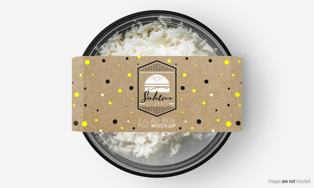 Salade doos mockup met papieren deksel op rijst