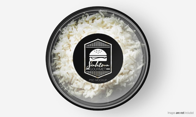 Saladedoosmodel met etiket op rijst