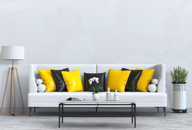 Salón interior en estilo moderno con sofá y decoraciones.