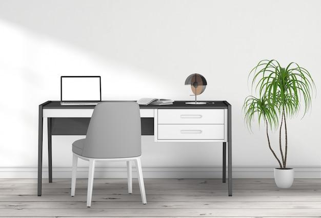Salón interior con ordenador portátil. representación 3d