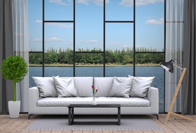 Salón interior y paisaje de río. representación 3d