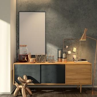 Salón moderno con maqueta de marco