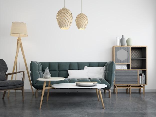 Salón moderno y realista con sofá y paredes blancas