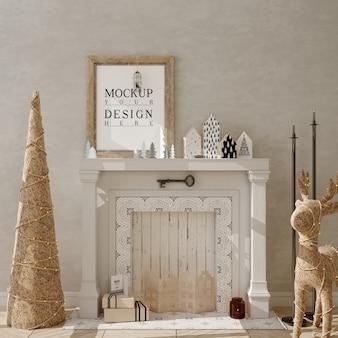 Salón de navidad con marco de póster de maqueta y árbol de navidad