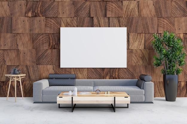 Salón con pared de madera y marco de maqueta