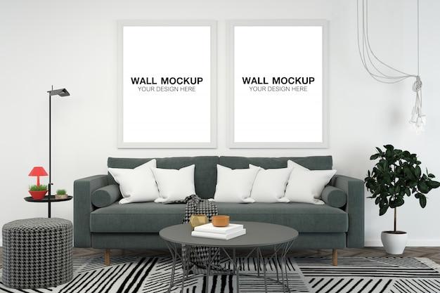 Salone interno casa mockup