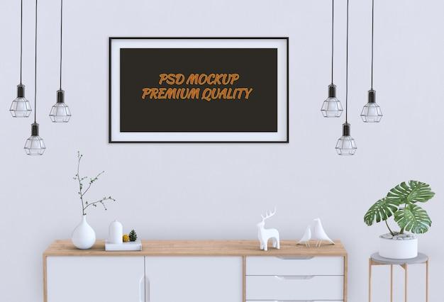 Salone interno con credenza e poster mockup in bianco. rendering 3d