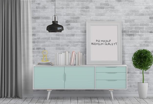 Salone interno con credenza e poster mockup in bianco