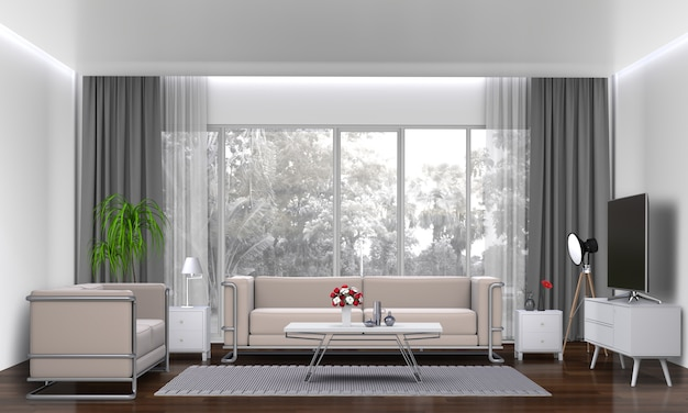 Salone interno con divano, pianta, lampada, smart tv., rendering 3d