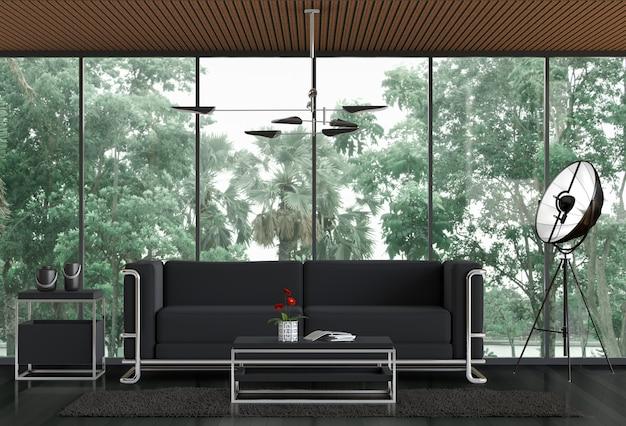 Salone interno e paesaggio del parco.