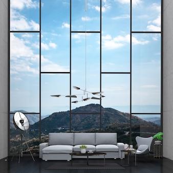 Salone interno e paesaggio montano. rendering 3d