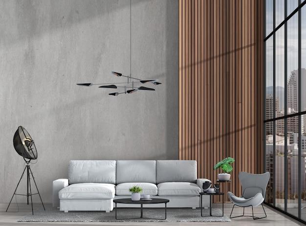 Salone moderno interno con con il sofà