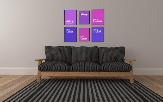 Salone moderno interno con divano e collage di cornici mockup