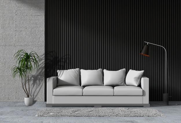 Salone moderno interno con divano, pianta, lampada