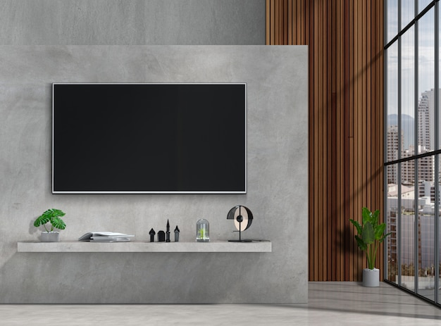 Salone moderno interno con smart tv