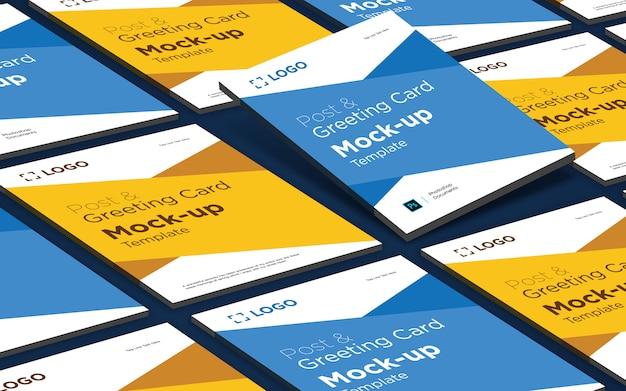 Saludo y plantilla de diseño de maqueta de tarjeta postal