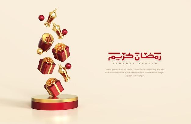 Saludos de ramadán islámico, composición con linterna árabe, caja de regalo, tambor y podio redondo con adorno de mezquita, composición de diseño de caída de levitación