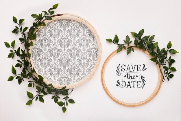 Salva i mock-up della data con le foglie