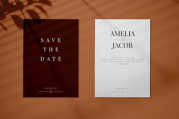 Salva il mockup della carta dell'invito per matrimonio data