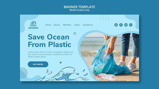 Salvar el océano de la plantilla de banner de plástico
