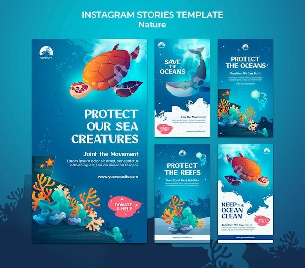 Salvar los océanos historias de redes sociales