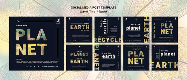 Salvar la tierra publicación en redes sociales