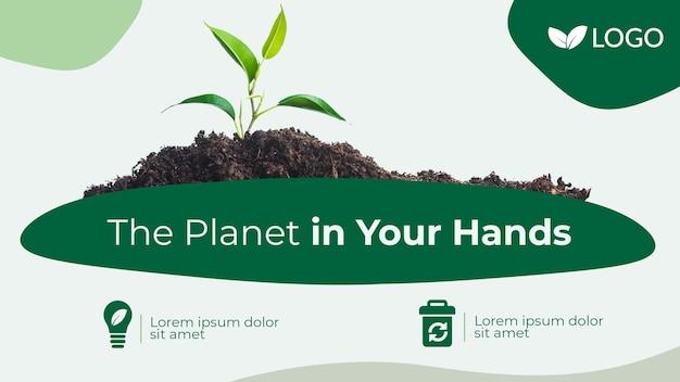 Salvare il modello di bandiera del pianeta con pianta e terreno