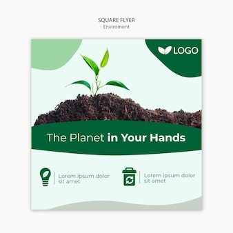 Salvare il modello di volantino del pianeta con pianta e terreno