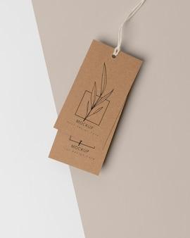 Samenstelling van mock-up kartonnen labels