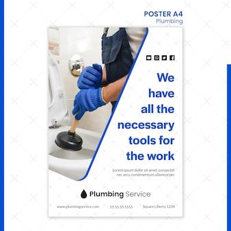 Sanitair met alle benodigde gereedschappen poster