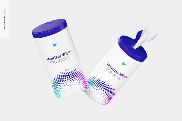 Sanitizer wipes canisters mockup, floating