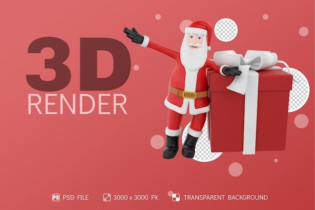 Santa con caja de regalo levanta una mano fondo aislado personaje 3d