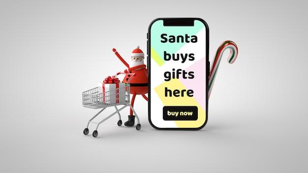 Santa claus con un carro de regalos y un smartphone de maqueta en la ilustración 3d aislado