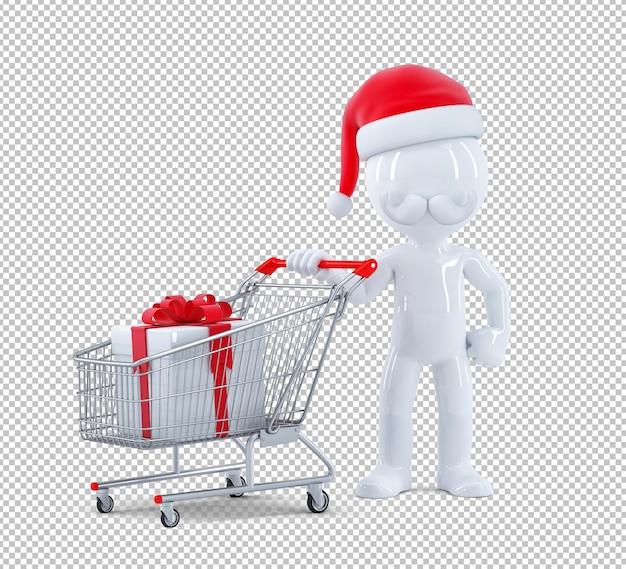 Santa claus duwen een winkelwagentje met geschenkdoos. geïsoleerd. 3d-rendering