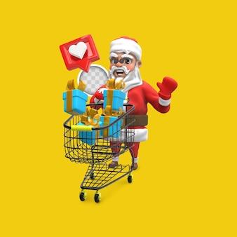 Santa claus con regalos de compras. representación 3d