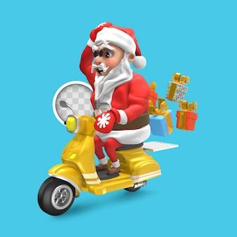 Santa claus con scooter de entrega. representación 3d