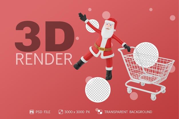 Santa, vista frontal, con, carro de compras, 3d, carácter, aislado, plano de fondo