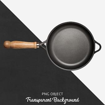 Sartén negra con mango de madera sobre fondo transparente.