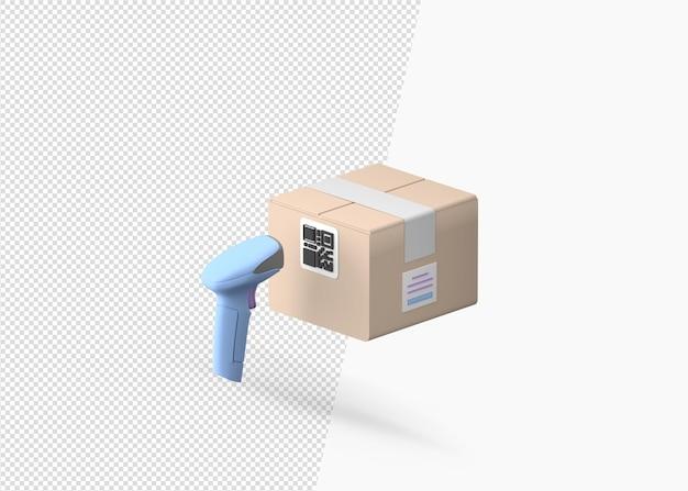 Scannende pakketdoos met behulp van streepjescodescanner geïsoleerde 3d-rendering Premium Psd