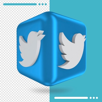 Scatola 3d con logo di twitter in rendering 3d