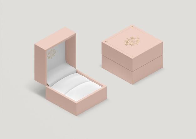 Scatola ad anello rosa vuota ad alto angolo