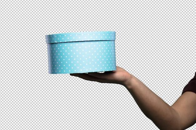 Scatola blu rotonda su sfondo bianco