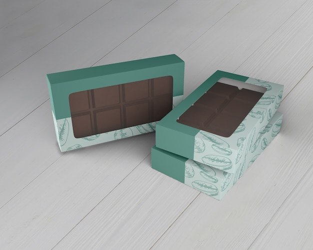 Scatola di design al cioccolato mock-up