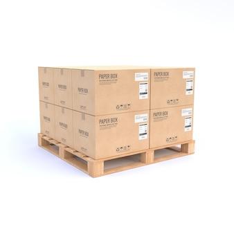 Scatole di cartone sulla tavolozza di legno