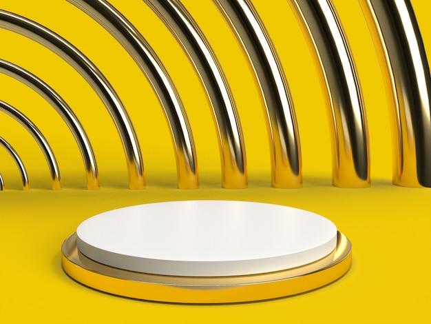 Scena bianca e d'ottone elegante del fondo giallo oro 3d con il podio per la disposizione del prodotto e editabile