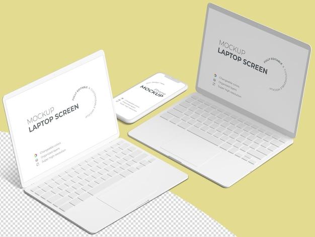 Scena minimalista con schermo del computer portatile e modello del telefono