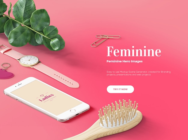 Scena personalizzata eroe / intestazione femminile rosa