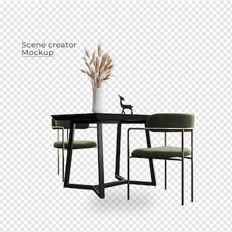 Scene creator fauteuil en tafel in de buurt van potplantontwerpen plant