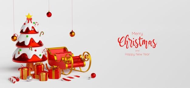 Scène van kerstboom met slee en kerstcadeautjes, 3d illustratie